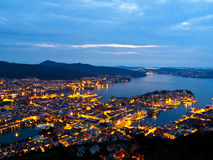 Bergen by night. From the Floyen mountain Stock Image