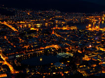 Bergen by night. From the Floyen mountain Royalty Free Stock Image