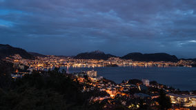 Bergen at night. Bergen city in Norway at night Stock Photos