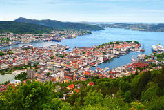 Bergen Norway. View of Bergen from Mount Floyen in Norway