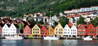 Bergen (Norway). Colorful typical houses in Bergen (Norway Royalty Free Stock Images