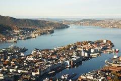 Bergen, Norway. Top view of Bergen harbor, Norway Stock Photo