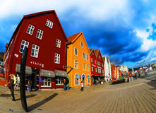 Bergen, Norway. Bryggen, the famous coloured houses in Bergen's old harbour. Famous landmark in Norway stock image