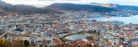 Bergen, Norway. Aerial view. Extra wide panoramic photo royalty free stock photo