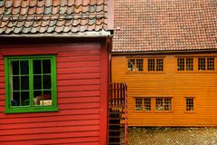 BERGEN, NORWAY - AUGUST 2017: Facades of the colorful wooden houses in Bergen. Famous colored houses and street in Bergen Norway -. Facades of the colorful Royalty Free Stock Image