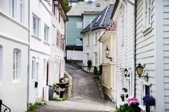 BERGEN, NORWAY - AUGUST 2017: Facades of the colorful wooden houses in Bergen. Famous colored houses and street in Bergen Norway -. Facades of the colorful Stock Photo
