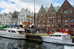 BERGEN, NORWAY. Beautiful view of the center of Bergen, Norway whith the yacht in the harbour Royalty Free Stock Photography