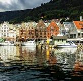 BERGEN, NORWAY - Buildings in waterfront Bryggen Stock Image