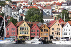 BERGEN, NORWAY - CIRCA JULY 2012: Tourists and locals stroll alo Royalty Free Stock Photo