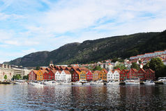 BERGEN, NORWAY - CIRCA 2016: The old town of Bergen which has many traditional houses, these buildings are visited by thousands of. Visitors each yea Royalty Free Stock Images
