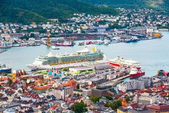 Bergen, Norway aerial view with colorful houses royalty free stock images