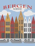 Bergen Norway Downtown Waterfront Poster vector Illustration vector illustration