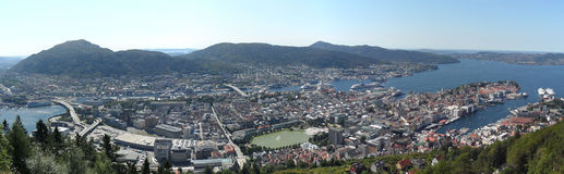 Bergen Norway Harbor Panorama Royaltyfri Bild