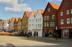 BERGEN, NORWAY. Historical center of Bergen Bryggen in Summer Royalty Free Stock Photo