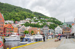 BERGEN, NORWAY. Мiew of the harbour of Bergen in the cloudy day Stock Photo