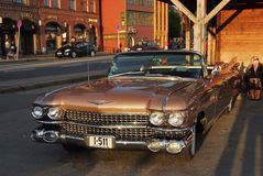 Classic car automobile parked on asphalt road in Bergen, Norway Royalty Free Stock Images