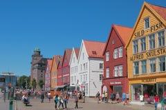 Bergen, Norway - Jul 10, 2018: Pedestrian zone in quarter Bryggen royalty free stock photos