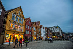 BERGEN, NORWAY: Scenic view of Bryggen, the Hanseatic commercial buildings lining at eastern side of the Vagen harbou Royalty Free Stock Photography