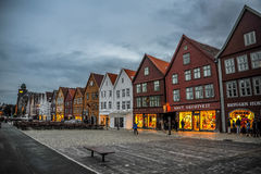BERGEN, NORWAY: Scenic view of Bryggen, the Hanseatic commercial buildings lining at eastern side of the Vagen harbou Stock Images