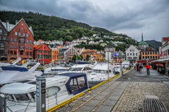 BERGEN, NORWAY: The scenic view of Vagen Bay in Bergen, Norway Stock Photos
