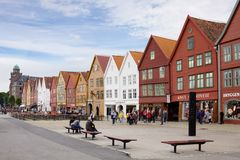 The complex of ancient wooden buildings named Bryggen in Bergen city. Bryggen is enrolled on the UNESCO list of World Heritage Sites stock photography