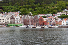 Bergen, Norway,. BERGEN, NORWAY - 1 JUNE , 2017: Panorama of the reconstructed Hanseatic buildings of Bryggen, a World Heritage Site Royalty Free Stock Images