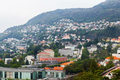 Bergen Norway. Landscape with houses on mountains at Bergen Stock Photography
