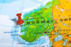 Bergen Norway map Stock Photos