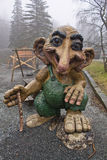 Bergen, Norway - March 8, 2012: huge giant troll wooden sculpture mythical creature guard of forest of viking. Huge giant troll wooden sculpture mythical Royalty Free Stock Photography