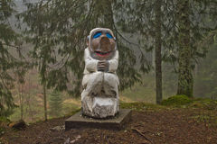 Bergen, Norway - March 8, 2012: wooden sculpture mythical creature guard of forest legend Stock Images