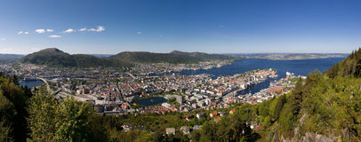 bergen norway panorama- sikt Royaltyfri Fotografi