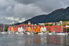 Bergen, Norway. Quay Bryggen. In a stormy day Royalty Free Stock Photo