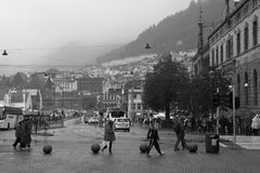 Bergen, Norway on a rainy and misty day Stock Photos