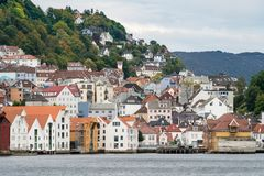 Houses line the dockside in Bergen Royalty Free Stock Photos
