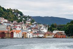 Houses line the dockside in Bergen Stock Photography