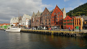 BERGEN, NORWAY. September 7: Norway's most visited tourist attraction Bryggen on September 7, 2015 in Bergen. Bryggen is a row of old Hanseatic commercial Royalty Free Stock Images