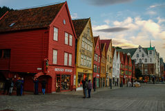 BERGEN, NORWAY - SEPTEMBER 18,2011: The UNESCO World Heritage Si Stock Photography