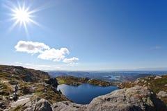 bergen norway solsken Royaltyfri Fotografi