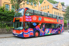 BERGEN, NORWAY. Tourist bus in the street of Bergen center Stock Photography