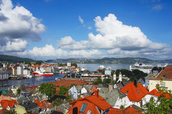 BERGEN, NORWAY. View on Bergen and harbor from the mountain. Bergen, Norway Royalty Free Stock Image