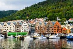 Bergen, Norway. View of historical buildings in Bryggen- Hanseat. Ic wharf in Bergen, Norway. UNESCO World Heritage Site. Artistic picture. Beauty world Stock Photo