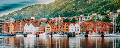 Bergen, Norway. View Of Historical Buildings Houses In Bryggen - Hanseatic Wharf In Bergen, Norway. UNESCO World. Heritage Site. Famous Landmark. Destination Royalty Free Stock Image