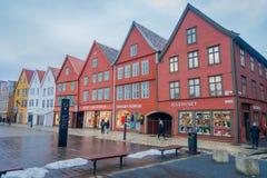 Bergen Norwegia, Kwiecień, - 03, 2018: Norweski tradycyjny drewniany dom, Bryggen, jest jeden światowego dziedzictwa miejsce, ja Obraz Royalty Free