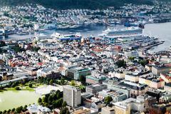 Bergen in a nutshell. The already very beautiful Norwegian Bergen, look like the toy, if you look at it from one of the seven peaks surrounding the city center Royalty Free Stock Photography