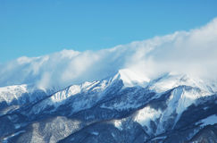 Bergen onder sneeuw in de winter royalty-vrije stock afbeelding