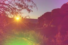 Bergen op zonsondergang Royalty-vrije Stock Afbeeldingen