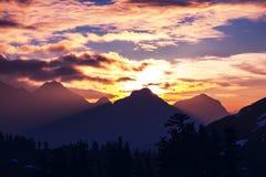 Bergen op zonsondergang Stock Afbeelding