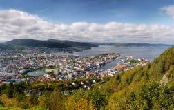 Bergen, opinión de Floyen, Noruega Imágenes de archivo libres de regalías