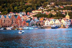 Traditional Norwegian Houses and Buildings at Bergen harbor stock photo