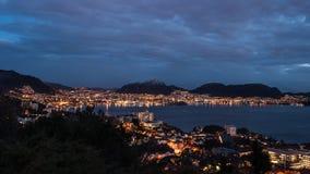 Bergen przy nocą Zdjęcia Stock
